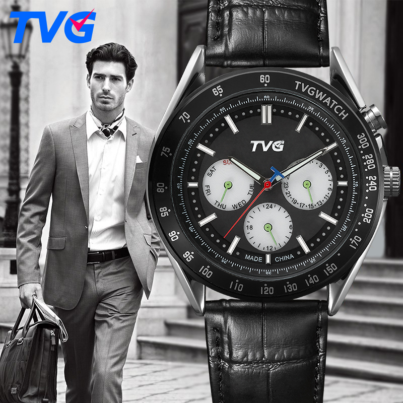 Halloween Gift TVG Watch Fashion Casual Quartz Watch Men waterproof Leather strap Male Quartz-watch EL Backlight relojes hombre(China (Mainland))