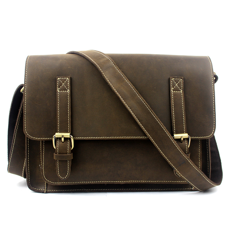 Hot male bag retro Crazy Horse Leather Satchel Bag men really leather bag(China (Mainland))