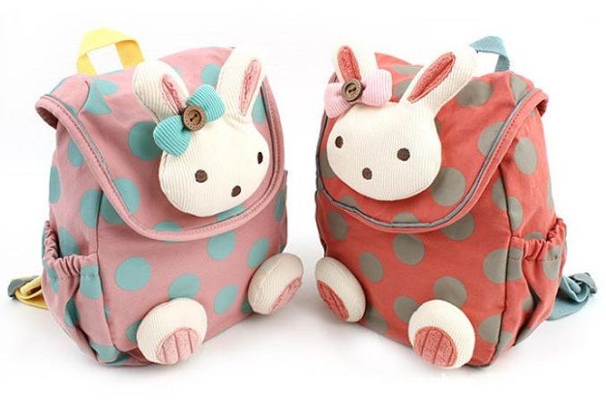 2015 Retail Animal design children boys girls 3D cute rabbit school bag anti lost backpack kids