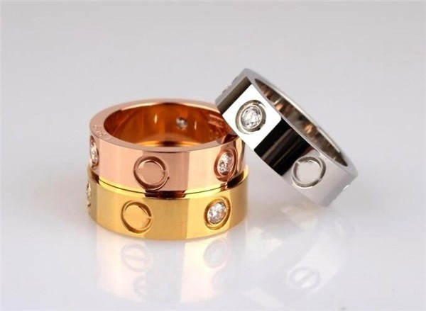 New Fashion Brand Design 4mm Width Stainless Steel Rings For Woman Crystal Jewelry Carter love Rings(China (Mainland))