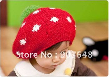 Free shipping 2012 New Autumn winter baby hat kid crochet cap lovely infant's headwear Christmas Children gift baby beret