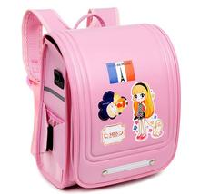 Latest pink carton schoolbags pu hardfacing Children Backpack Children's shoulders burdens stereotypes school bags free shipping(China (Mainland))