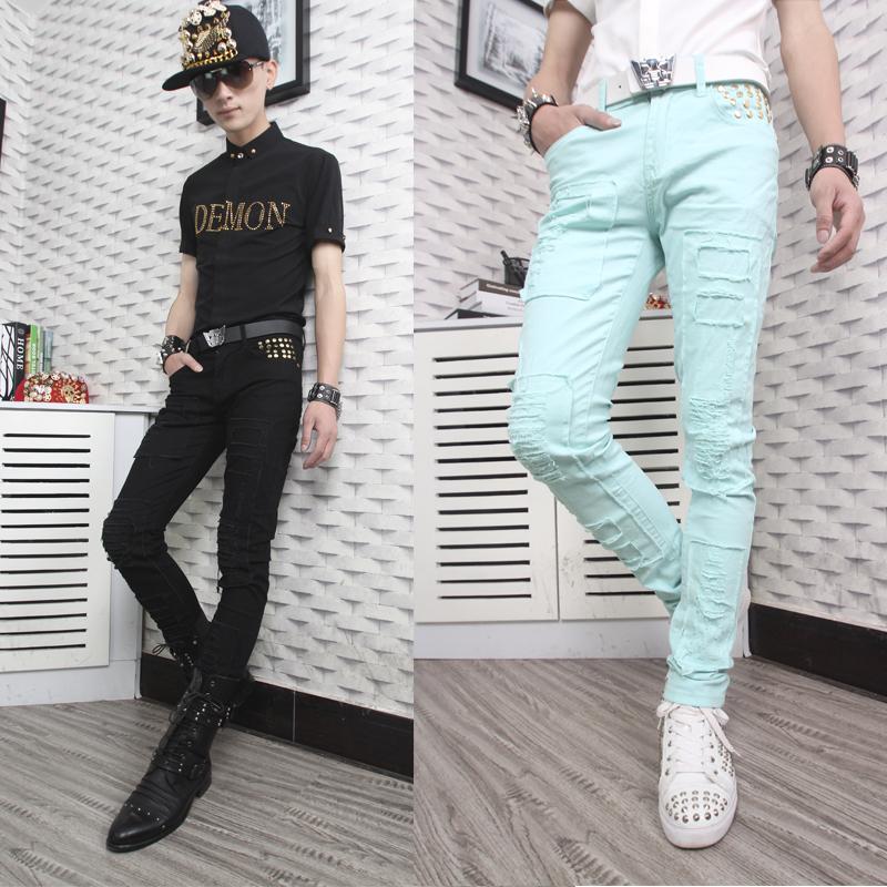 Spring black white cotton pants men pant slim mens 1 trousers pantalones hombre skinny joggers - Fashion clothes store wang