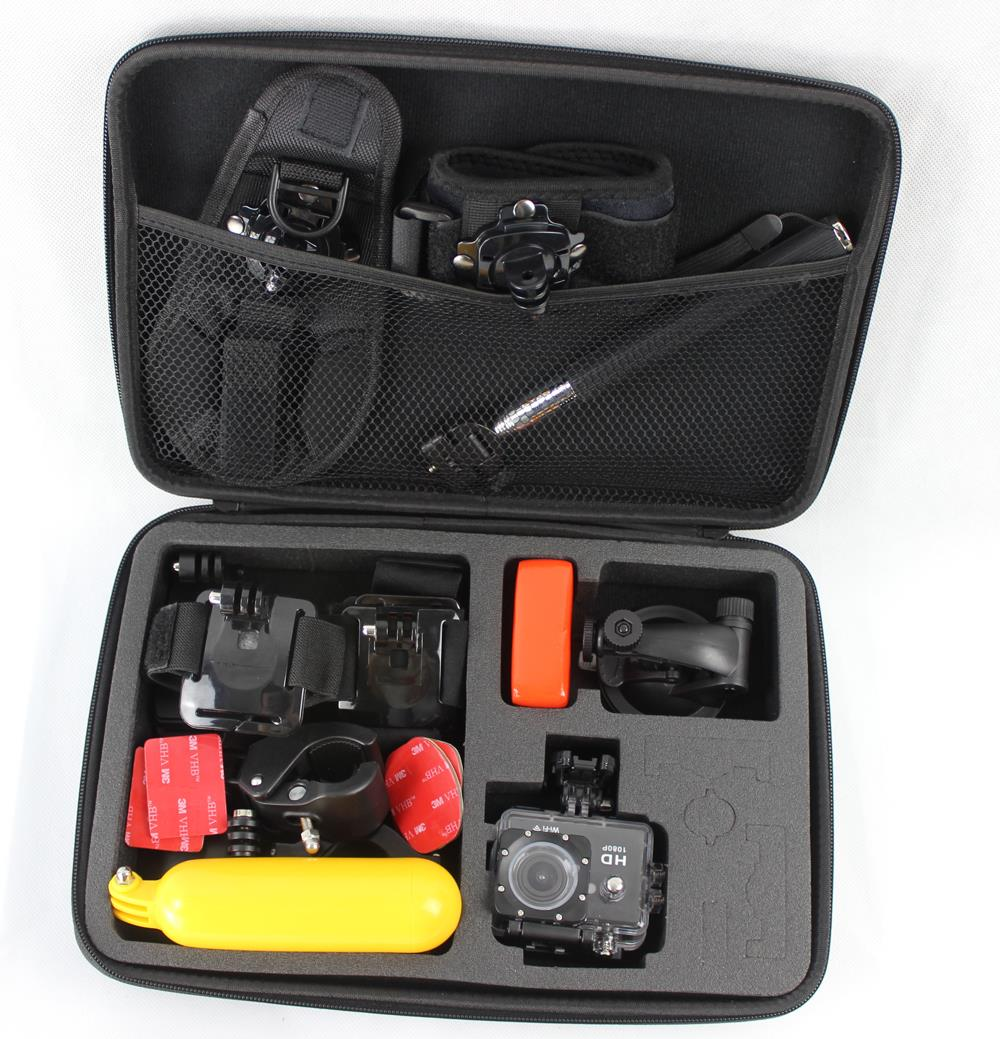 Go pro accessories kit Big size collection EVA Tripod Box for GoPro Hero 4 3 Sj40 Sj50 Xiaomi yi ction camera