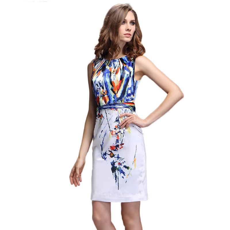Summer Printed Sleeveless Dress 2016 New Brand Designer Women Plus Size White Mini Casual Office Dresses Vestidos 1867(China (Mainland))