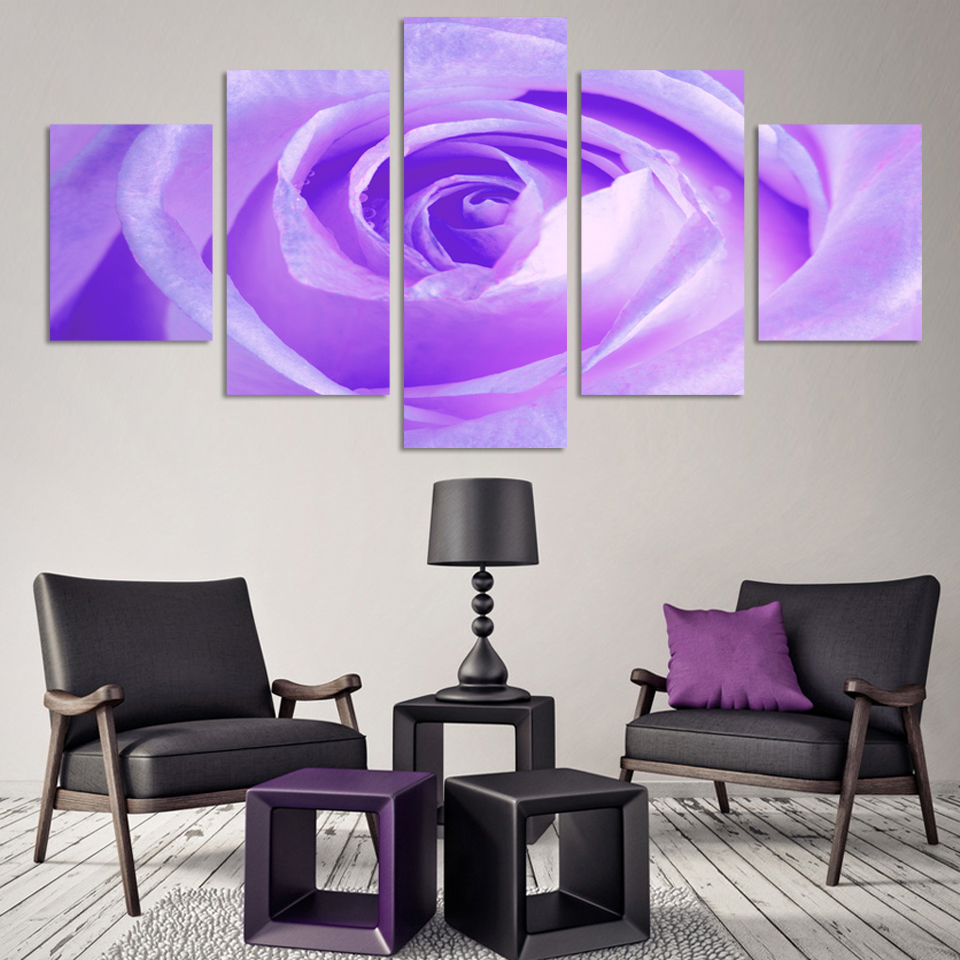 Fashion no frame 5 Pcs free shipping purple rose pictures canvas painting wall pictures wall art decorative picture(China (Mainland))