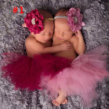 Antique Rose Pretty Baby Tutu and Flower Headband Newborn Photography Prop Infant Girl Tutus Birthday Tutu TS046(China (Mainland))