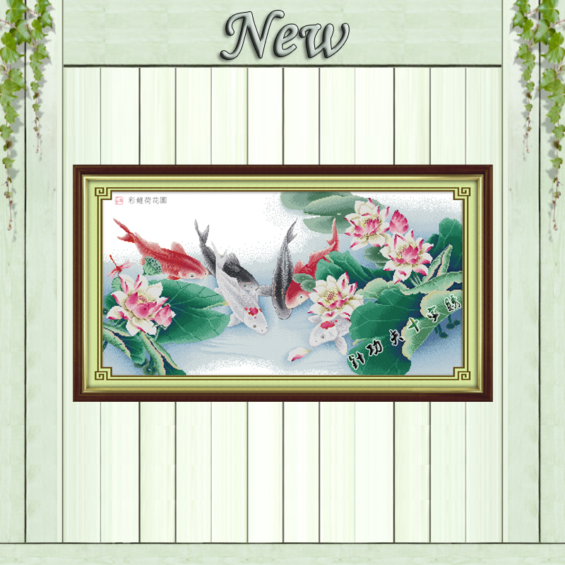 Colorful carps with lotus paintings counted printed on canvas DMC 14CT 11CT Chinese Cross Stitch Needlework Sets Embroidery kits
