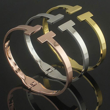 Fashion Brand Jewelry 3 Color 18K Rose Gold Carving Letter Double T Bracelets Bangles Pulseiras Cuff Bracelet For Women Gift(China (Mainland))