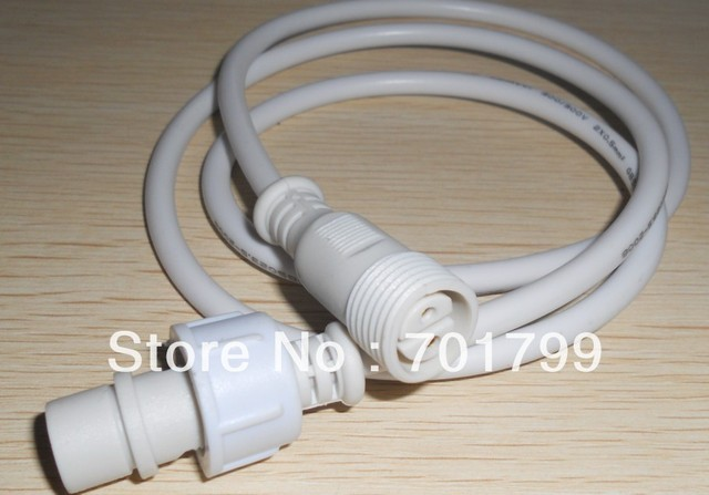 1.5m(5feet) 2 core waterproof extension cable,one end with male, the other end with female, white color