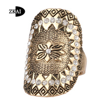 Vintage Look Lucky Flower Case Midi Knuckle Ring Crystal Jewelry Bohemia Plating Gold Rings For Women(China (Mainland))