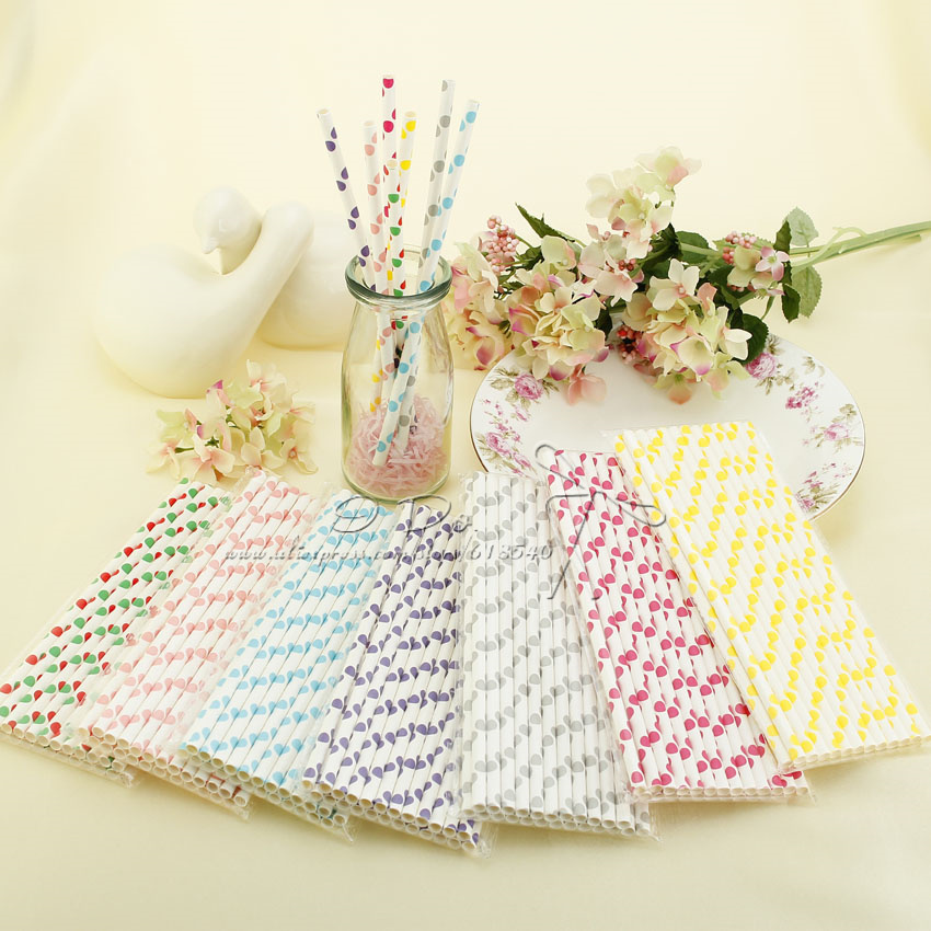 Free Shipping Garden Theme 25pcs Big Dot Paper Straws Festive & Party Supplies Wedding Favors Wedding Decoration(China (Mainland))