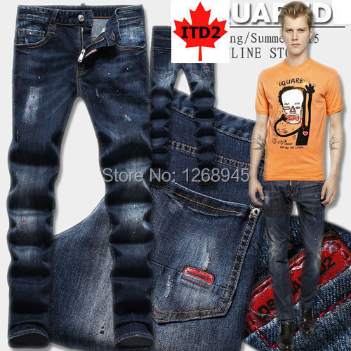 Men's Blue Jeans Bleach Washed Painted Effect Skinny Denim Fit Brand Name Product(China (Mainland))