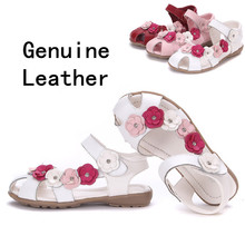 2015 NEW 1pair Flower Children Sandals Genuine Leather Shoes, super quality Girl Sandals+age 3-12 years old, child sandals(China (Mainland))