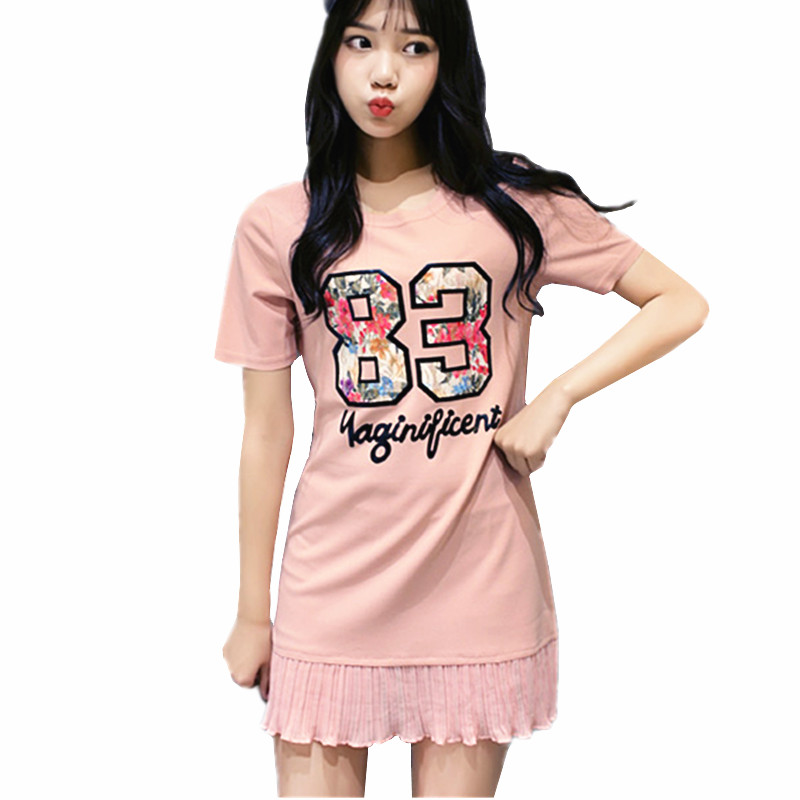 2016 Preppy Style Pleated Vestidos Pink Cute Dress Letters Print O neck Mini Summer Dresses Short Sleeve T Shirt Dress for Women(China (Mainland))