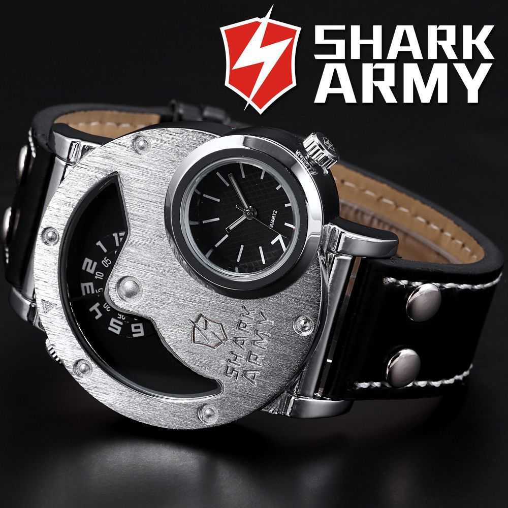 SHARK ARMY Stainless Steel Oversize Big Case Dual Time Leather Strap Montres Hommes Relogio Men Quartz Military Watch / SAW053(China (Mainland))