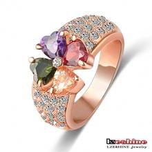 LZESHINE Brand Magic Heart Clover Zircon Ring Real 18K Rose Gold Plated Genuine SWA Element Flower Crystal Ring ITL-RI0092