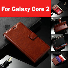 Leather Case For Samsung Galaxy Core 2 G355H Flip Cover Wallet with Stand and ID Card Holder Photo Frame 5 Color