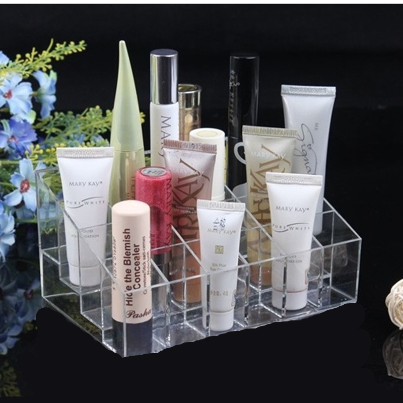 High quality Plastic Clear Trapezoid Lipstick Holder 24 Square Grid Cosmetic Box Brush Stand Rack Tidy Organizer,Free shipping.(China (Mainland))