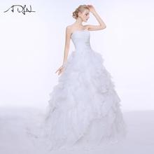 ADLN Stock Corset Wedding Dresses Vestido De Noiva Ivory/White Organza Ruffled Cheap Bridal Gown Plus Size Wedding Dress(China (Mainland))