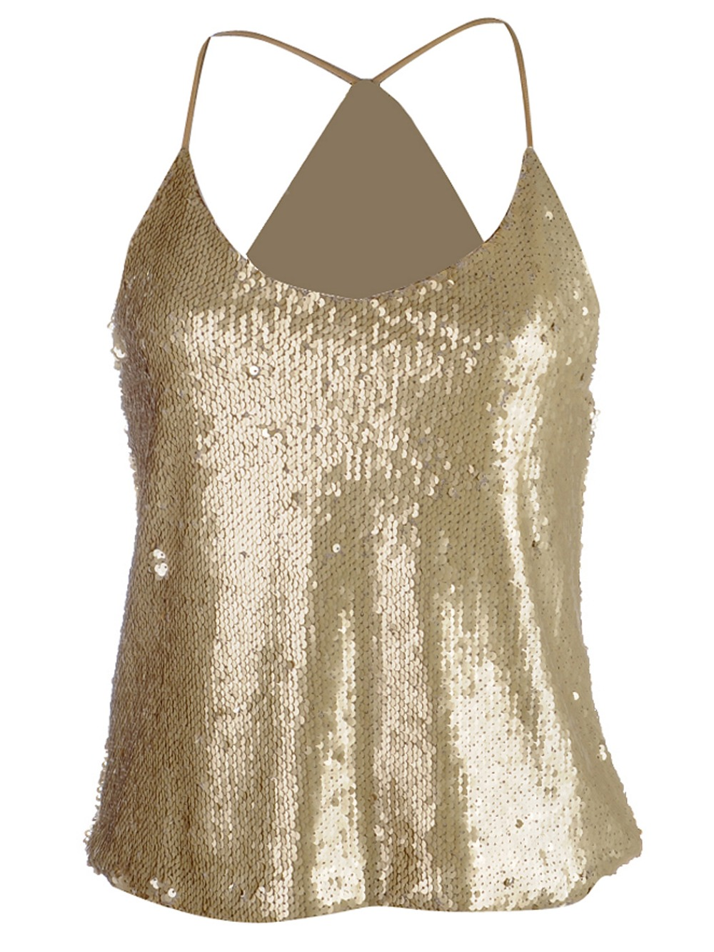Fashion women sexy gold sequin tops halter neck double sided applique