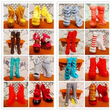 SALE 10Pairs/Lot Free Shipping Fashion Shoes For Monster Dolls Beautiful High Heels Monster Doll Sandals Boots Mixed-Style Shoes