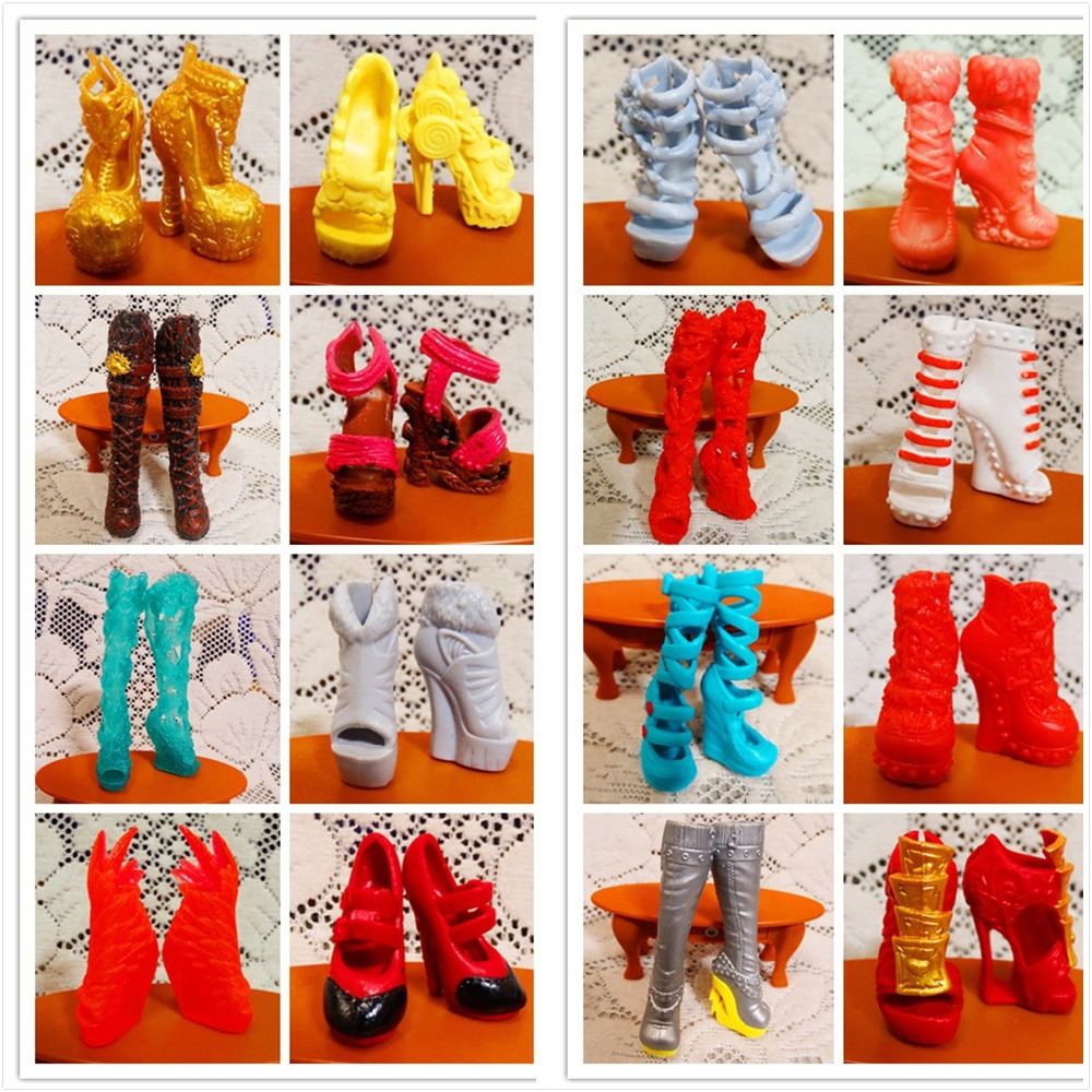 SALE 10Pairs/Lot Free Shipping Fashion Shoes For Monster Dolls Beautiful High Heels Monster Doll Sandals Boots Mixed-Style Shoes(China (Mainland))