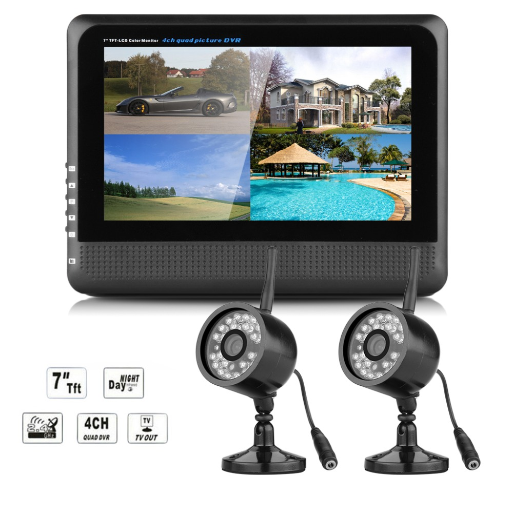 """Digital Wireless 4 Channel Outdoor 2 CCTV Camera System 7"""" LCD Monitor DVR Record to SD TF Wireless CCTV DVR Baby Monitor System(China (Mainland))"""