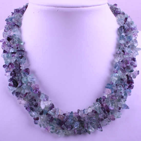 """Free Shipping Jewelry 4X8MM Natural Multi-color Fluorite Chip Beads Nylon Line Weave Necklace 18"""" 1Pcs RE031(China (Mainland))"""