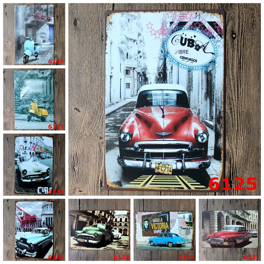 20*30cm Tin Signs metal painting Craft Plaque for Home Bar,Retro car poster,old bus pictures printing wall art ready to hang(China (Mainland))