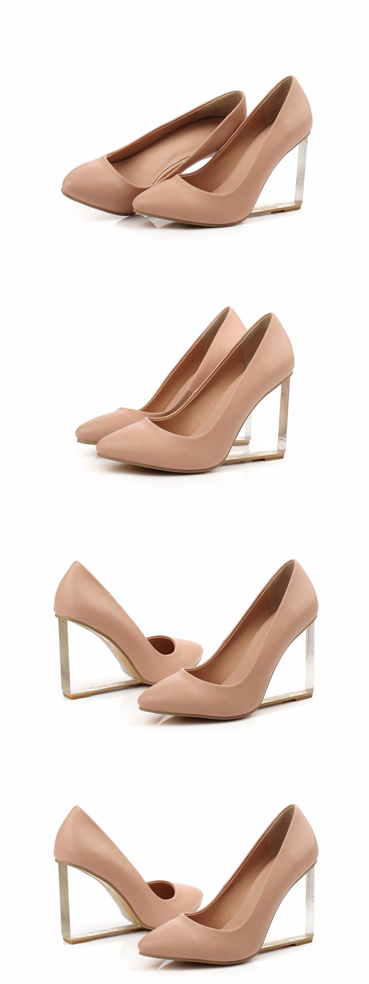 Big Size 33-42 NEW 2017 Women Shoes Genuine leather pointed toe High-heeled shoes Transparent wedges lady high heels Women Pumps