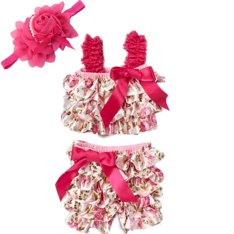 Fashion Princess Girl Pink Floral Satin Romper Set With Hair Band Newborn Pettitop And Short Pants set(China (Mainland))