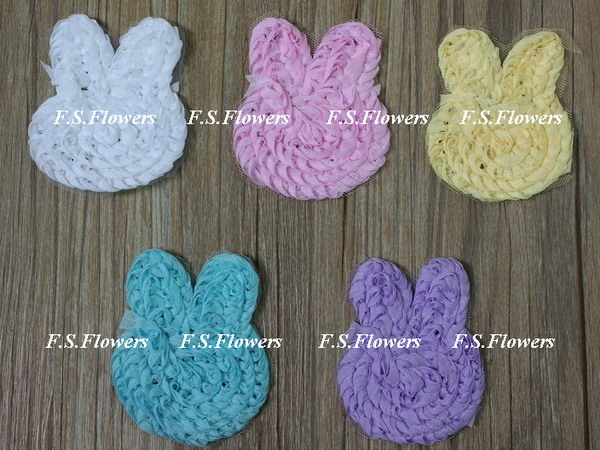Free DHL/EMS 8x6.5CM chiffon bunny rabbit applique,hair accessories,24y/265 stock colors selection - F.S. INTERNATIONAL TEXTILES LIMITED store