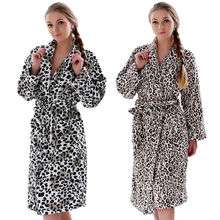 Women Plus Size Leopard Coral Fleece Warm Bathrobe Nightwear Kimono Dressing Gown Sleepwear Bath Robe For Ladies(China (Mainland))