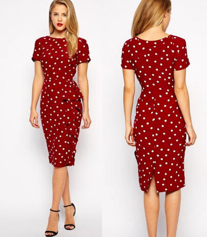 2016 new retro dress polka dot slim large size of professional temperament tunic dress office