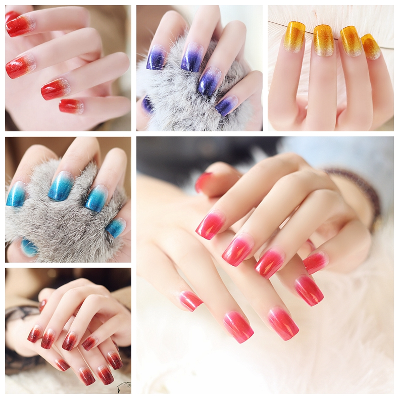 24pcs/set Glitter Nail Tips Acrylic False Nails French Faux Ongles Fake Nails for Art Sky Blue Fingernails with Free Glue XCP(China (Mainland))