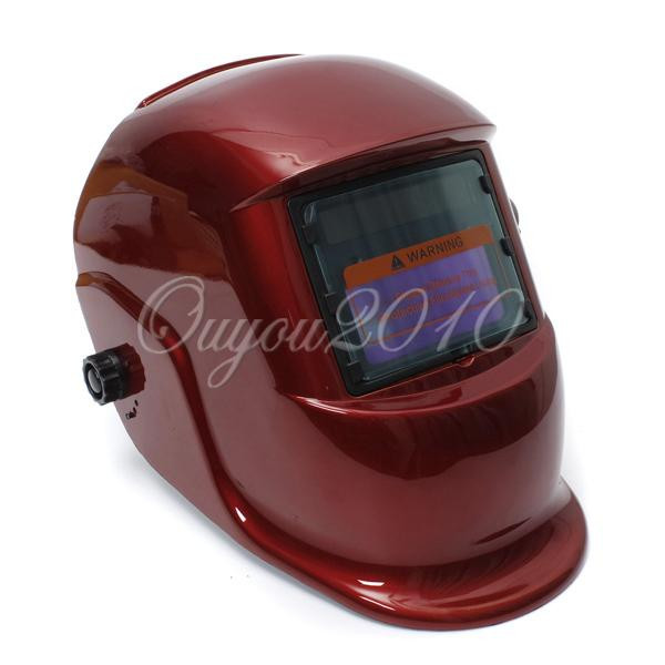 Red Solar Auto Darkening Welders Welding Helmet Mask Tig Mag Grinding Function Free Shipping(China (Mainland))