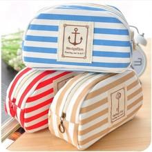 A1127 New 2014 Arrive Fashion Ladies Bag Striped Sailor Anchor Canvas Multifunction Pen Pocket Pencil Bags