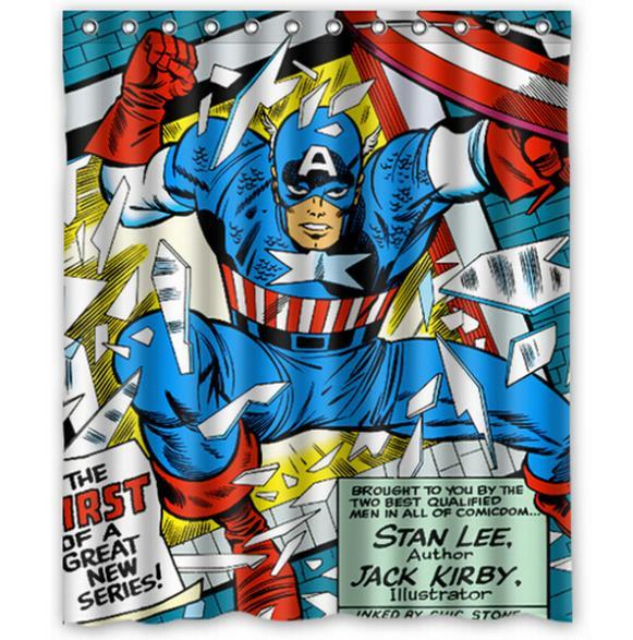 Buy marvel comic captain america home decor modern shower curtain bathroom - Marvel superhero bathroom accessories ...