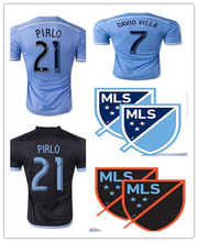 Nycfc 2015 New York City FC Soccer Jersey PIRLO 2115 16 DAVID VILLA LAMPARD maison ciel bleu loin noir de New York City maillots(China (Mainland))