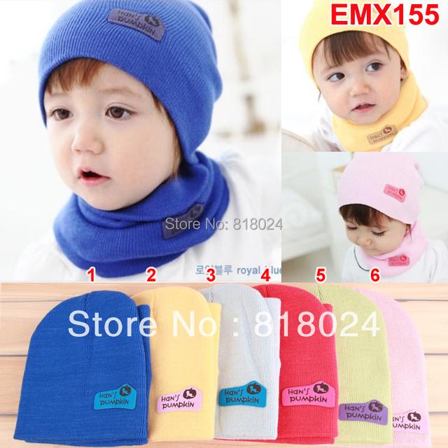 1 комплект / много ( 6 цветов ) Cashme дети трикотаж кепка дети шляпа + шарф двухкомпонентный комплект шейный платок дети шляпу-ушанку шляпа