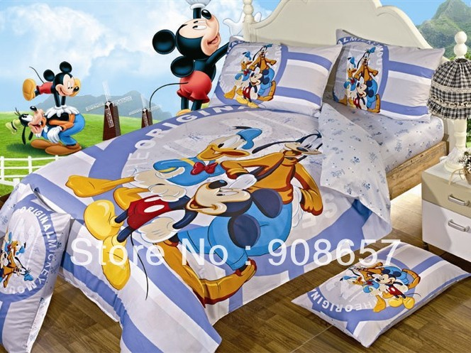 mickey mouse friend boys childrens bedding twin full queen king size comforter cotton quilt duvet covers bed in a bag sheets set(China (Mainland))