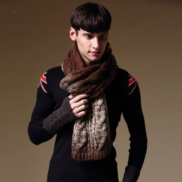 free shipping 2014 new winter scarf men and women wool cable needle pattern scarvescashmere acrylic high quality men scarf(China (Mainland))