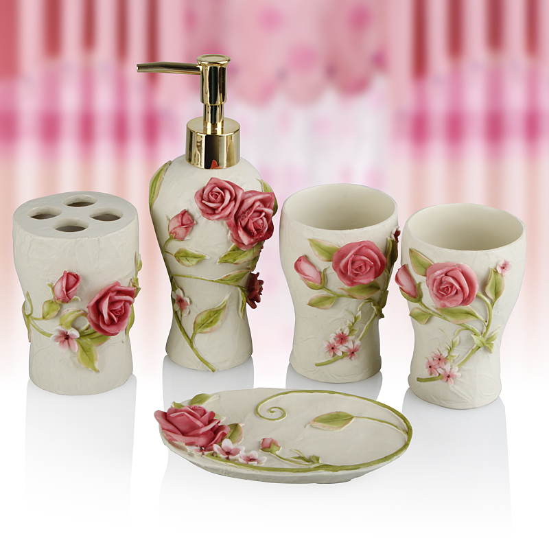 Pink rose five pieces set of bathroom resin bathroom for Bathroom accessories pink