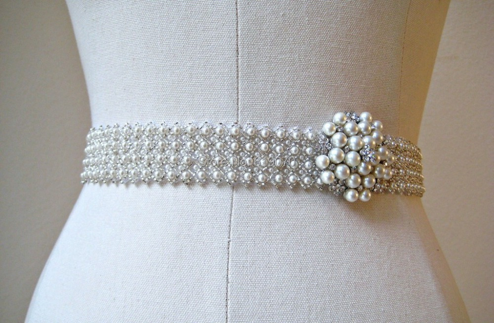 High end delicate handmade pearls beaded wedding dress for How to make a beaded belt for a wedding dress