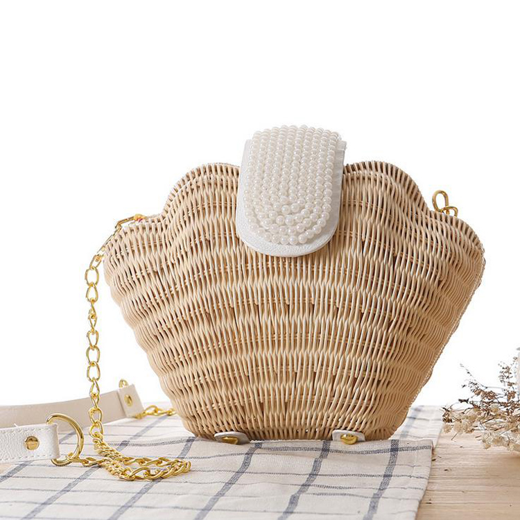 2016 Summer New Mermaid Pearl Shell Bag Women's Shoulder Bag Beach Straw Woven Rattan Messenger Chain Bags Casual Holiday Bags(China (Mainland))