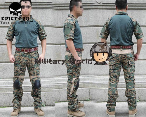 Фотография Digi Woodland Emerson Airsoft Tactical Combat Training Uniform Summer Style with Detachable Knee protector military camouflage