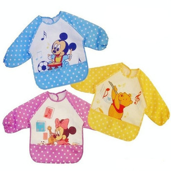 Baby Bib Long Sleeve Waterproof Feeding Bib Clothing For Lunch Cartoon Animal Mouse And Bear Bebe Bibs Babador For Baby Itself