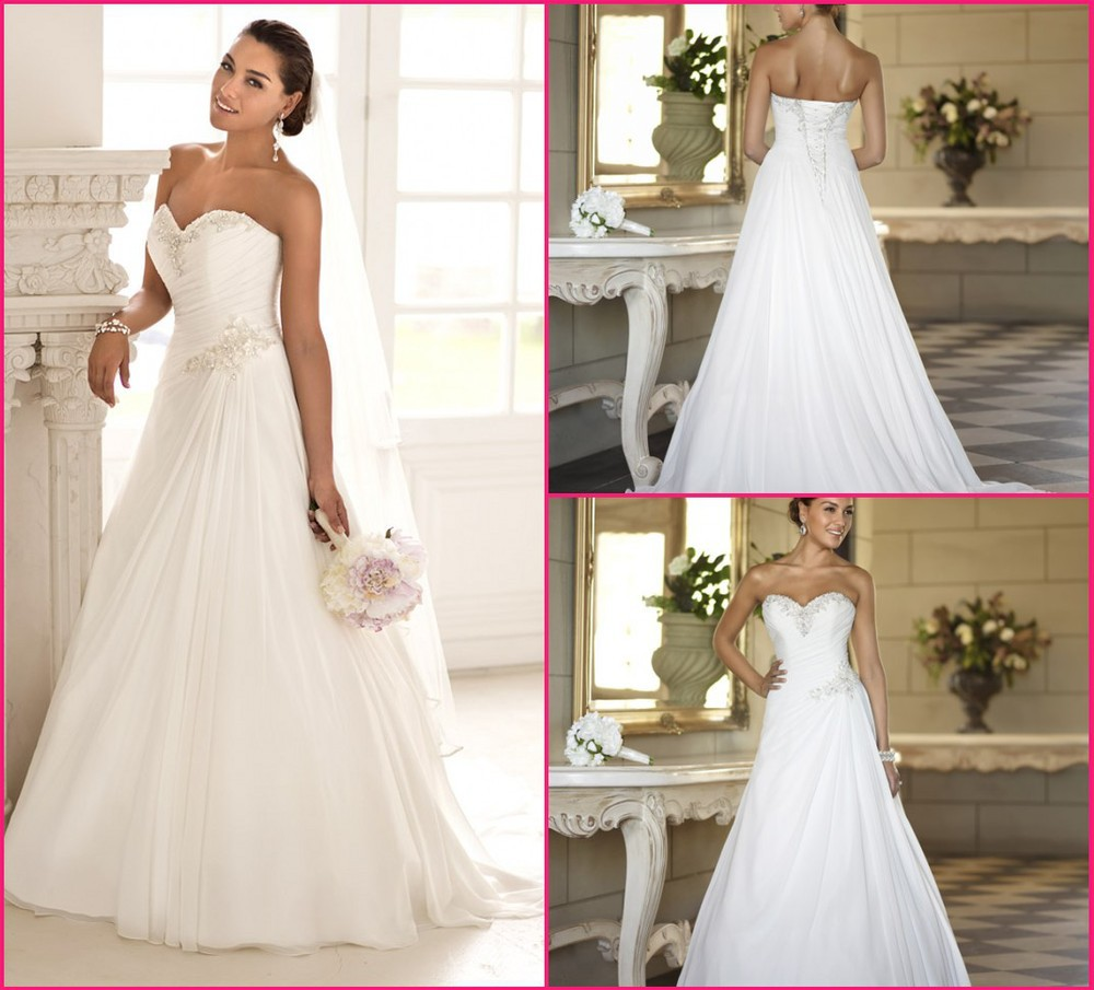 Beaded Cheap Stock Chiffon Beach China ball gown Elegant Backless Bridal Dress Plus Size 2015 a
