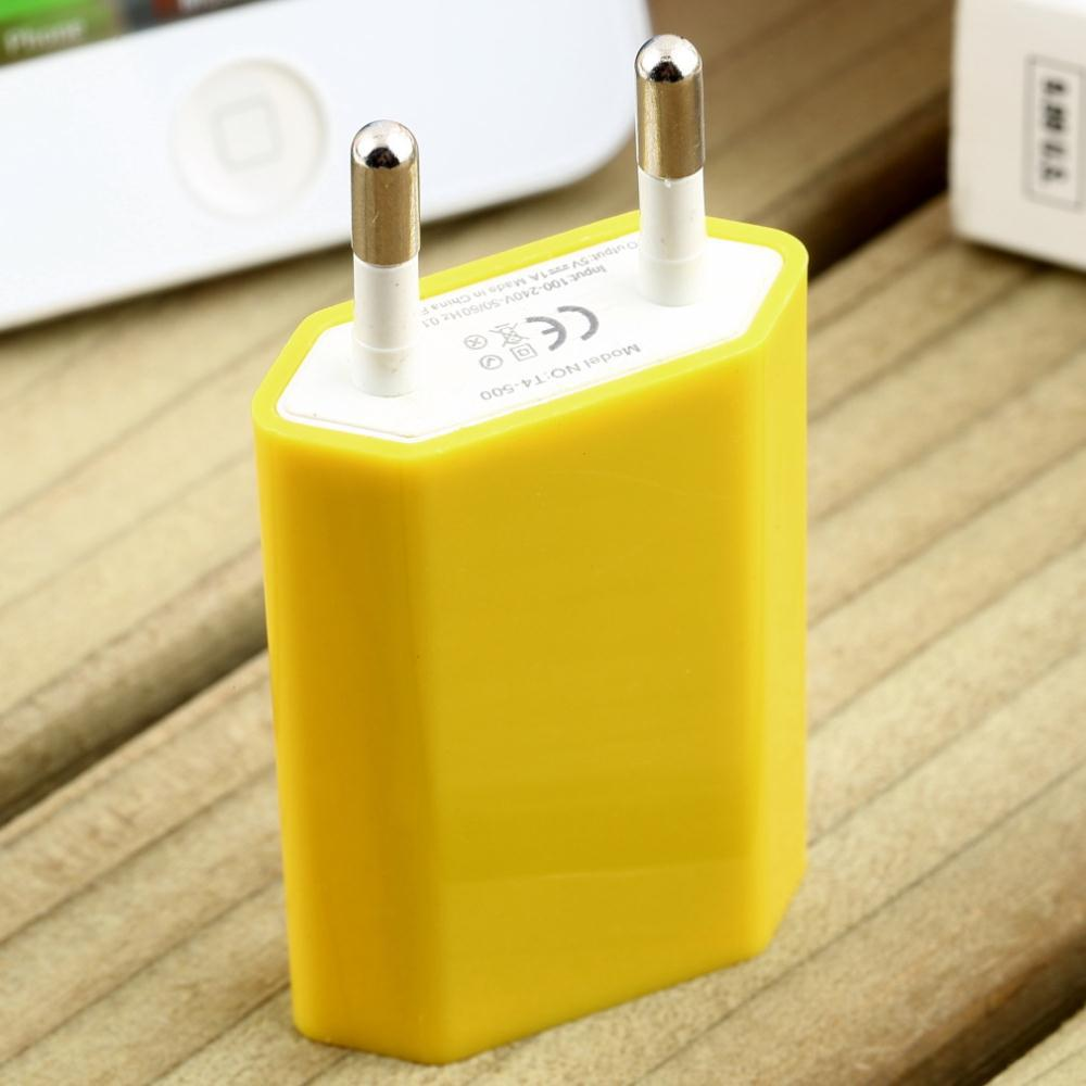 EU Plug 5V 1A USB AC Power Wall Charger Adapter for all Apple iPhone 6 4 4S 5 5s iPod Touch Nano charging Yellow